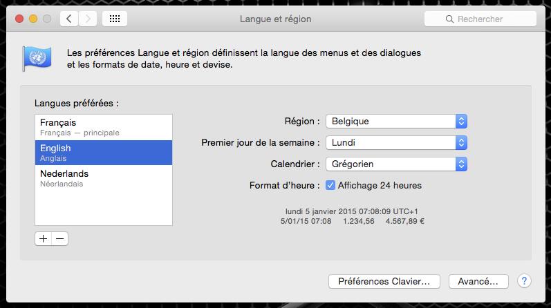OSX : changement de langue
