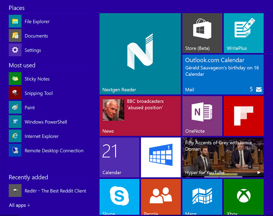Design plat : Windows 10