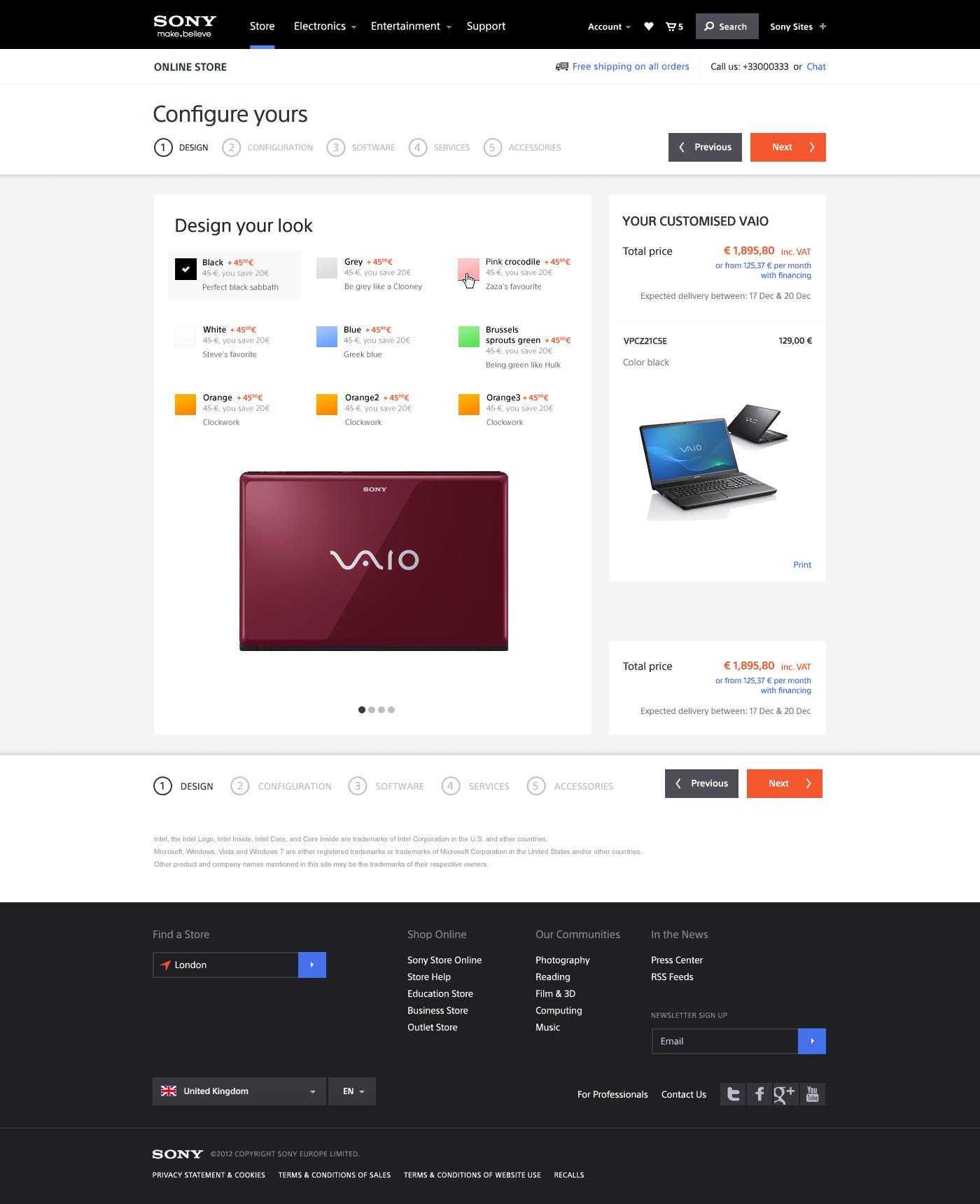 Pages de configuration VAIO